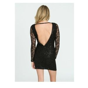 Arden B Sequin Embellished Lace Dress Black